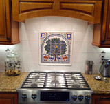 Stove top Tree of life tile mural, 18 x 18 inches