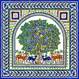 Tree of Life with cobalt blue border tiles, 24 x 24 inches