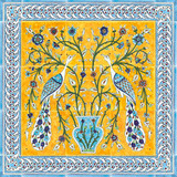 Yellow peacock tile mural, with blue border tiles, 24 x 24 inches