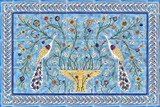 Peacocks of paradise mural, with borders, 24 x 36 inches