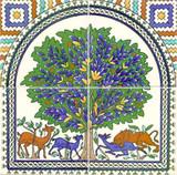 Tree of life ceramic tile mural - 4 tiles only