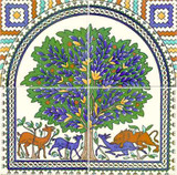 The tree of life tile design on four tiles