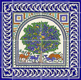 Tree of life ceramic tile mural, 16 loose tiles - 4 central tiles, 8 border tiles, and 4 corners