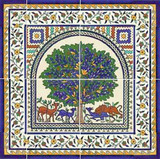 Tree of life tile mural, 18 x 18 inches