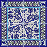 18 x 18 inch blue and white tile layout