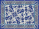 Blue and white floral tile layout 5 - 24 x 18 inches