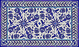 Blue and white floral tile layout, 30 x 18 inches
