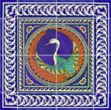 Phoenix bird with blue border tiles, 18 x 18 inches