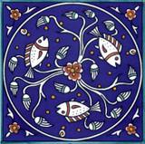 Fish, cobalt blue circular design