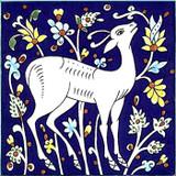 Cobalt blue gazelle accent tile