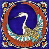 Phoenix bird tile, cobalt blue