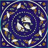 Fish & birds circular pattern
