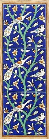 Peacocks ceramic tile wall hanging