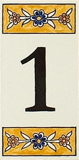 Yellow house number tile