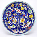 Cobalt blue bowl with intricate floral pattern