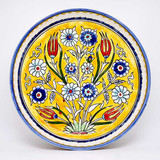 Yellow floral bowl with tulips