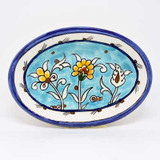 Light blue hand painted floral oval dish