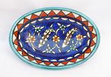 Cobalt blue floral oval dish