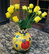 Pomegranate shaped hand painted ceramic vase