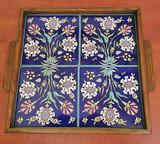 Floral pattern, cobalt blue, 4 tiles