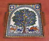 Tree of life tile mural embedded in a tray