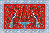 Red peacocks tile mural with borders, 24 x 36 inches