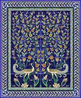Magnificent cobalt blue birds tile mural with border tiles
