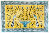 Yellow peacocks of paradise tile mural