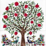 Pomegranate tree ceramic tile mural designed by Hagop Karakashian