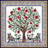 Pomegranate tree with floral border tiles, 24 x 24 inches