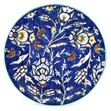 Tulips and carnations cobalt blue hand painted plate