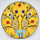 Peacosk & pomegranate tree hand painted plate