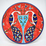 Red peacocks hand painted plate