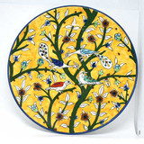 Peacocks and birds yellow plate