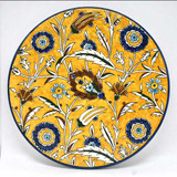 Tulip and saz leaf plate, yellow