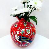 Red bird pomegranate shaped ceramic vase