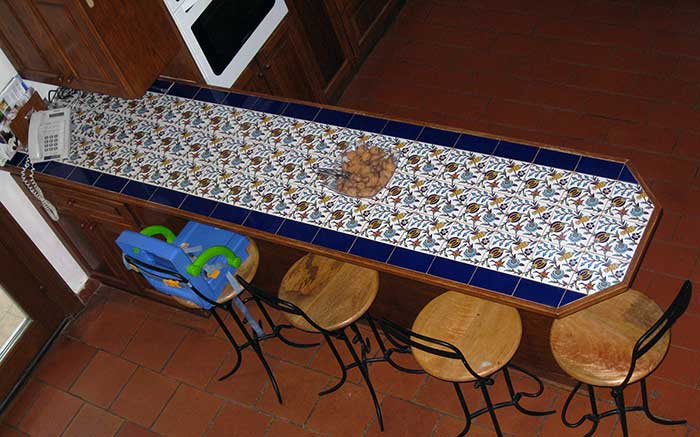 Counter top tile with the tulip and pomegranate ceramic tile