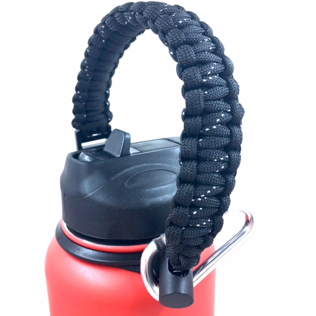 Hydro Flask Handle Black Paracord Survival Strap with Security Ring for  Wide Mouth Water Bottles