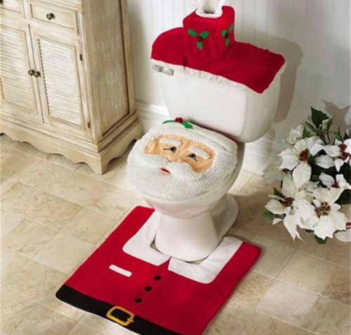 Santa face toilet cover, santa suit rug, red toilet bowl cover, red tissue box cover