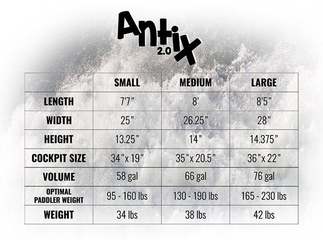 AntiX 2.0 Size Chart