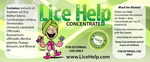 Here is the bottle label for the Lice Help Concentrate