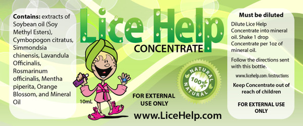 Lice Help Concentrate Label on bottle