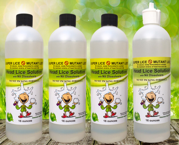 Each Full SUPER LICE Head Lice Cure kit contains 4 (four) 16oz bottles, instructions, guarantee, and a dispenser cap.