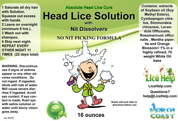 Lice Help Single 16 oz. Fully Mixed Add-On Bottle LABEL