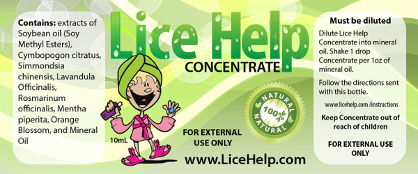 Lice Help Concentrate Label