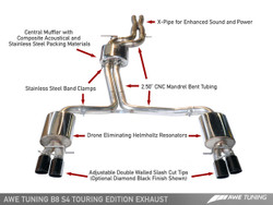 AWE TUNING AUDI B8 S4 TOURING EDITION EXHAUST - Polished Tailpipes