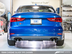 AWE Tuning Track Edition Exhaust - Audi S3 8V - 90mm Chrome Silver Tailpipes
