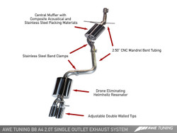 AWE Tuning A4 B8.5 2.0TFSI Touring Edition Exhaust - Twin Tailpipes