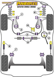 Powerflex Black Power Steering Rack Mount - Vento (1992 - 1998) - PFF85-233BLK