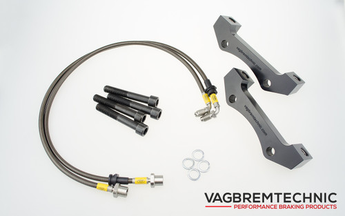 Vagbremtechnic Front Brake Adaption Kit - Allows Fitment of Porsche 996TT Calipers to 334mm R32 OE Discs